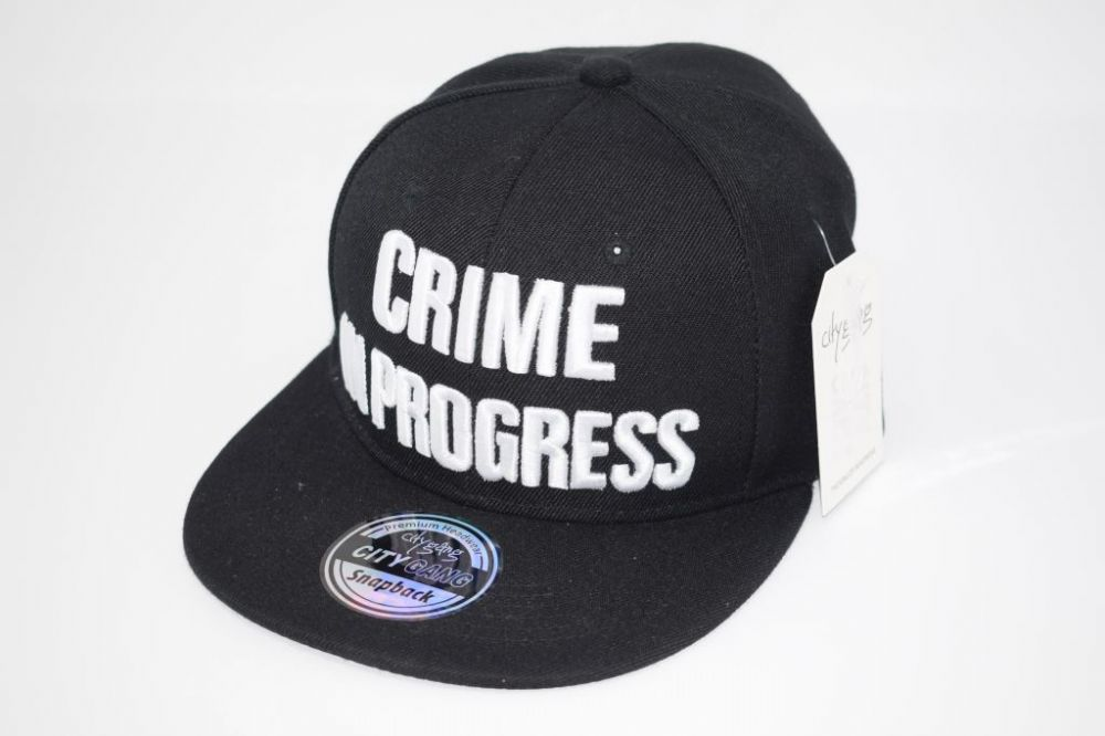 C4888- 'CRIME IN PROGRESS' BLACK Snapback Cap one size fits all adjustable